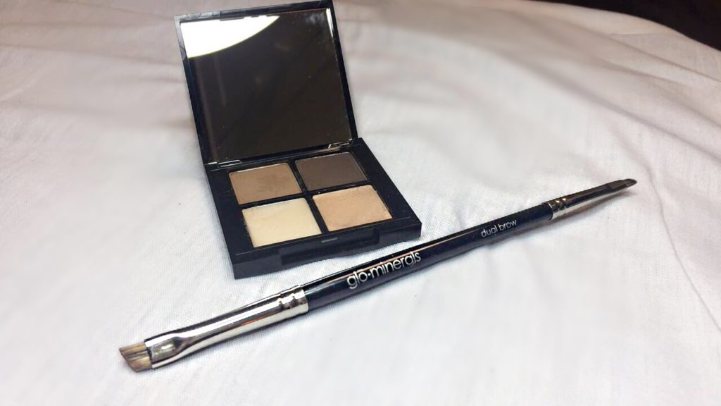 brow powder quad in brown, dual brow brush